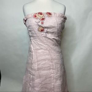 Odillle pink dress with floral appliqués
